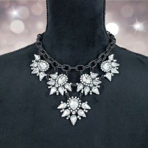 Clear Crystal Gem Rhinestone Statement Necklace